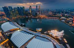 Singapore cityscape after raining. View from marina bay hotel Stock Photos