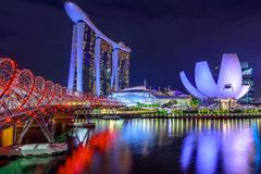 Singapore skyline night. Singapore cityscape, Southeast Asia. Marina bay buildings and skyscrapers of downtown reflected in the Harbor. Singapore architecture Stock Image