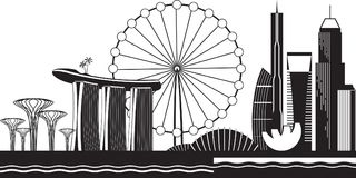 Singapore cityscape vid dag stock illustrationer