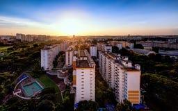 Singapore cityscapebild av bostads- byggnad för HDB fotografering för bildbyråer