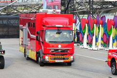 Singapore Civil Defense Force (SCDF) hazardous materials mitigation vehicle arriving on scene during National Day Parade 2013 Stock Photography
