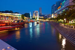 Singapore. Clarke Quay at Night Stock Photo