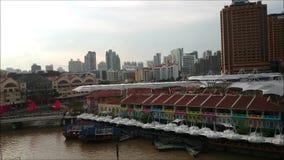Singapore Clarke Quay During Sunset stock video