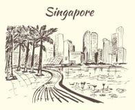 Singapore coastline with big buildings and lotus. Isolated on white background stock illustration