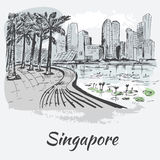 Singapore coastline with big buildings and lotus. Isolated on white background royalty free illustration
