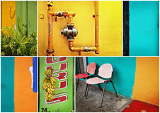 Singapore, colorful street and walls Stock Image