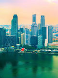 Singapore in colorful sunset Stock Photos