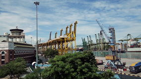 Singapore commercial port . It's the world's busiest port stock video footage