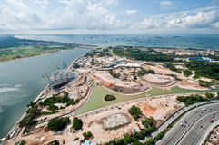 Singapore Constructions. View of the construction taking place in Singapore's Marina Bay area stock photos