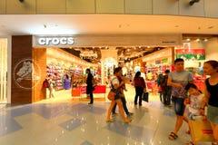 9b0ea10a2fb3e2 Singapore  CROCS retail store. CROCS retail store at Vivocity Singapore.  Crowd walking past