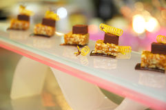 Singapore cuisine. Artistic dessert from singapore with nuts royalty free stock photos