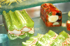 Singapore cuisine. Crab meat wrapped with celery royalty free stock images