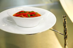 Singapore cuisine. Soup prepared with stewed peppers royalty free stock photos