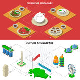 Singapore Culture Cuisine 2 Isometric Banners Royalty Free Stock Images