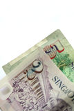 Singapore currency notes. Close up two dollar and 5 dollar Singapore currency notes Royalty Free Stock Images