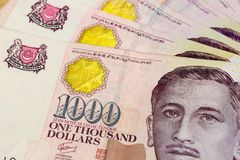 Singapore One Thousand Dollars Currency Notes Closeup Stock Photography