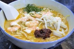 Singapore Laksa with Prawns Macro Stock Images
