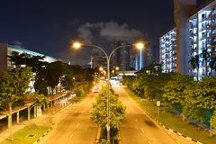 Singapore Dakota HDB Estate at Night. Singapore Dakota public housing HDB estate at night. This is one of the older public housing estates in Southern Singapore Royalty Free Stock Photography