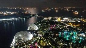 Singapore in de nacht stock afbeeldingen