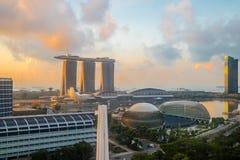 Singapore de stad in, Promenadetheaters op de Baai, Marina Bay Sa Stock Foto