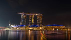 Cityscape of Singapore skyline at twilight time. Marina Bay is a bay located in the Central Area of Singapore. SINGAPORE, DECEMBER 22 2017 : Cityscape of Stock Photos