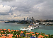 Cruise liner near Singapore Royalty Free Stock Image