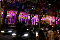 SINGAPORE - DECEMBER 24, 2012: Decorations in the streets of Sin Stock Image