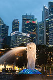 Singapore,December 20,2013:The Merlion fountain lit up at agains Royalty Free Stock Images
