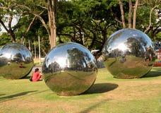 Singapore-December 2015.Mirror Balls in Park in Singapore Stock Photos