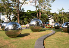 Singapore-December 2015.Mirror Balls in Park in Singapore Royalty Free Stock Images