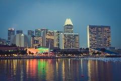 Singapore December 20,2013: Sikt av stadshorisonten på natten in Royaltyfri Bild