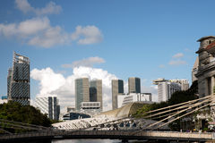 Singapore-December 2015.Singapore River, Cavenagh Bridge Royalty Free Stock Photo