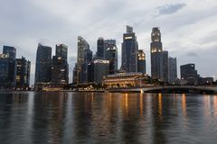 SINGAPORE, December 9, 2017: Skyline of financial district in Singapore. At dusk Royalty Free Stock Photos