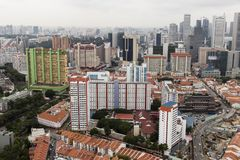 SINGAPORE, December 10 2017: Top view photo shot of some landed property houses. And some goverment apartments in the background Royalty Free Stock Image