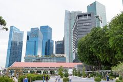 Singapore - December 9, 2017 : A view of the Financial and Banking Buildings in Singapore near fullerton hotel royalty free stock images