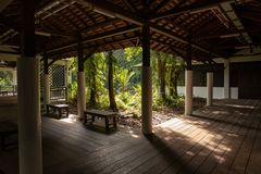 SINGAPORE - December 2018: View to the beautiful nature from inside building at the Sungei Buloh Wetland Reserve. stock image