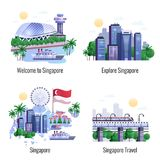 Singapore 2x2 Design Concept. Set of famous landmarks and city skyscrapers in central business district flat vector illustration Stock Photography