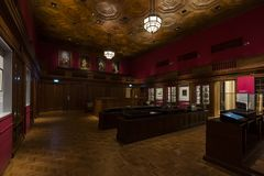 Singapore, Singapore - 25 dicembre 2017: Precedente aula di tribunale nessuna 1 in National Gallery Singapore fotografia stock