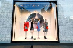 Singapore: Dior. Window display for Dior at 1 of the shopping mall in Singapore stock images