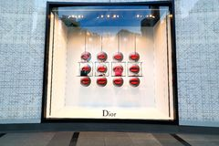 Singapore: Dior. Window display for Dior at 1 of the shopping mall in Singapore royalty free stock image