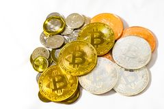 Singapore Dollar coins and Bitcoins Cryptocurrency coins on Whit stock image
