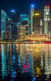 Singapore downtown ar night Royalty Free Stock Photography