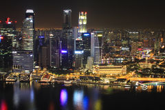 Singapore Downtown Core reflected in the river Royalty Free Stock Image