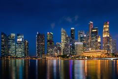 Singapore downtown district business financial center and skyscrapers building at twilight scene. royalty free stock photography