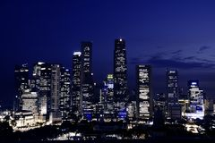 Singapore downtown at dusk Stock Photography