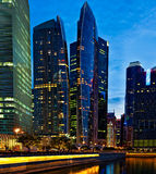 Singapore downtown in evening Stock Photos