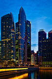 Singapore downtown in evening Stock Photo