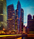 Singapore downtown in evening Stock Photography
