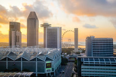 Singapore Downtown, Marina Bay, Convention Centre and Big Wheel. At sunrise Stock Photos