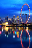 Singapore downtown at night Royalty Free Stock Image